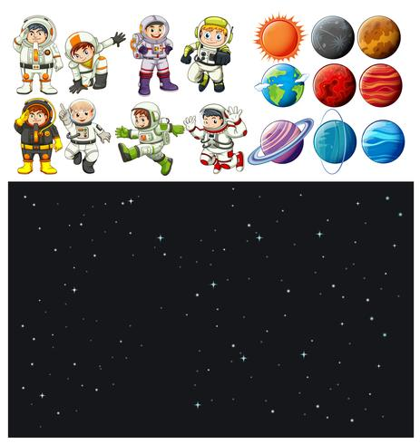 Space background and spaceman set vector