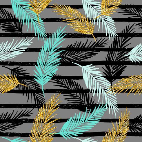 Sin fisuras patrón exótico con siluetas de hoja de palma. vector