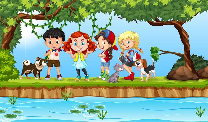 Enfants internationaux dans la nature