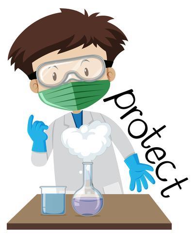 Het flitskaartontwerp voor woord beschermt met jongen die bescherming in laboratorium dragen