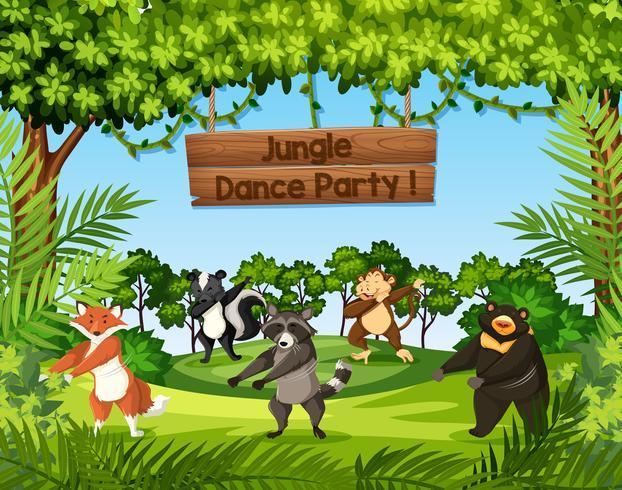 Animais selvagens dançando na selva