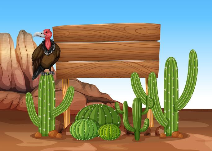 Wooden sign with cactus and vulture