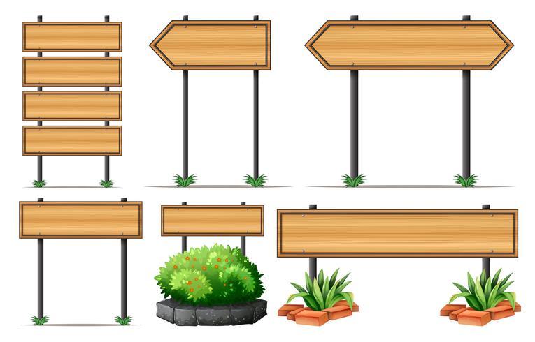 Letreros de madera y arbusto. vector