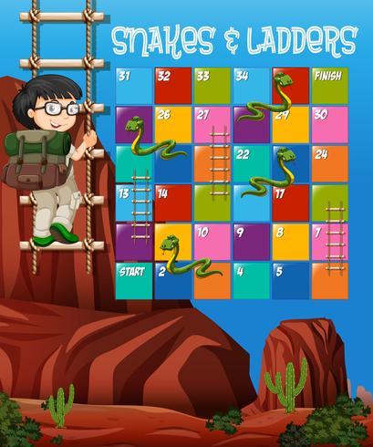 Modello del gioco di puzzle con il ragazzo che scala scala nel fondo