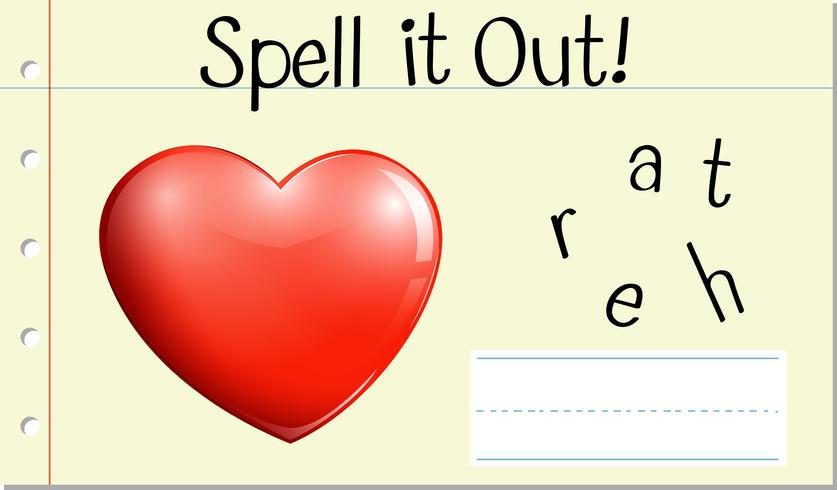 Spell English word heart