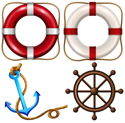 Marine symbol with safety rings and anchor vector