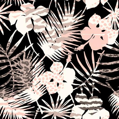 Abstrakt sömlöst mönster med djurtryck, tropiska växter och geometriska former.