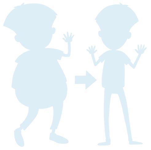 Silhueta de transformação de corpo de homem