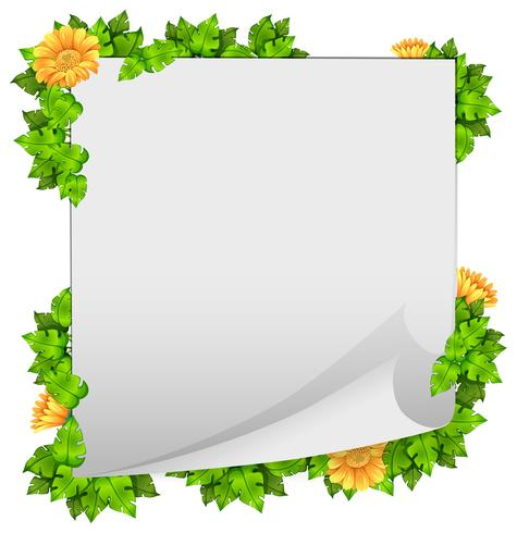 Blomma och bladgränsram