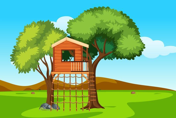 Uma casa na árvore na natureza vetor