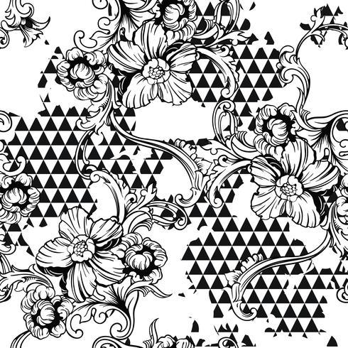 Tejido ecléctico sin patrón. Fondo geométrico con adorno barroco. vector