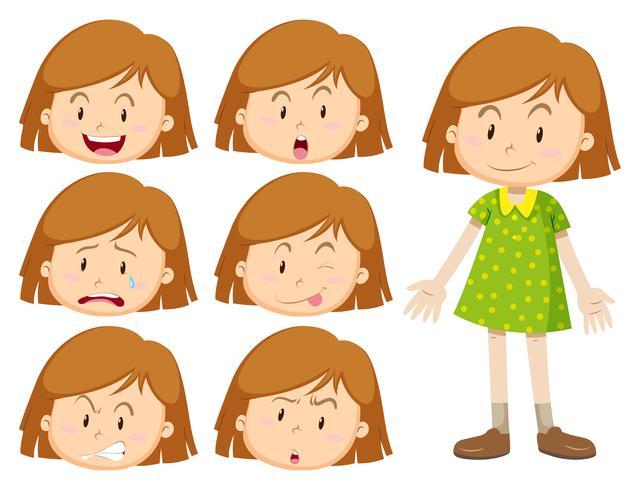 Menina com muitas expressões faciais