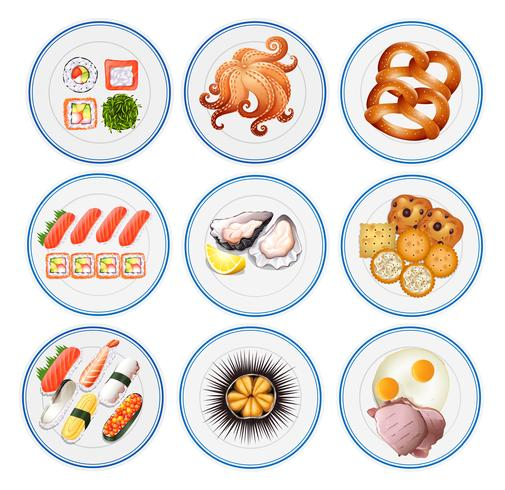 Sushi y otros tipos de comida en platos. vector