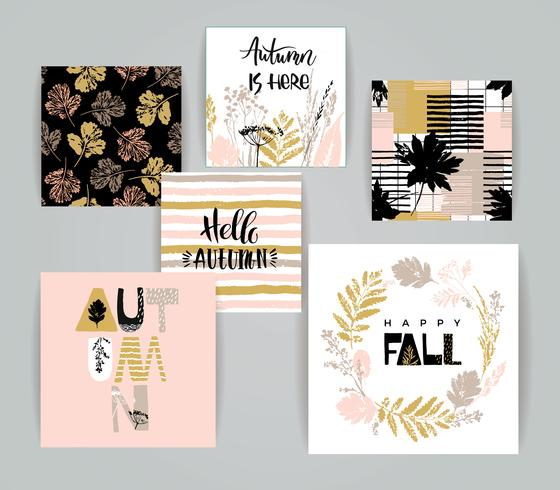 Set of artistic creative autumn cards. vector