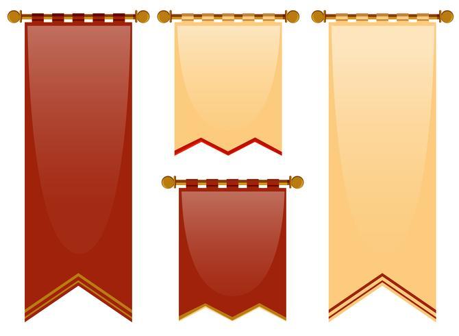 Stile medievale di bandiere in rosso e marrone