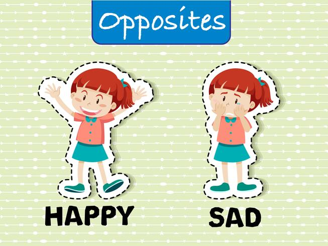 Opposite Word happy and sad - Download Free Vectors, Clipart ...
