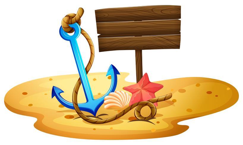 Una spiaggia con un'ancora e un'insegna vuota
