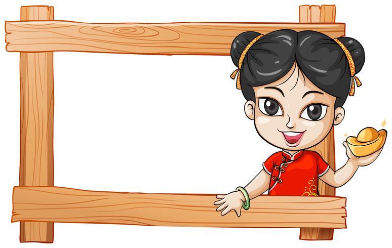 Un cadre en bois avec une dame