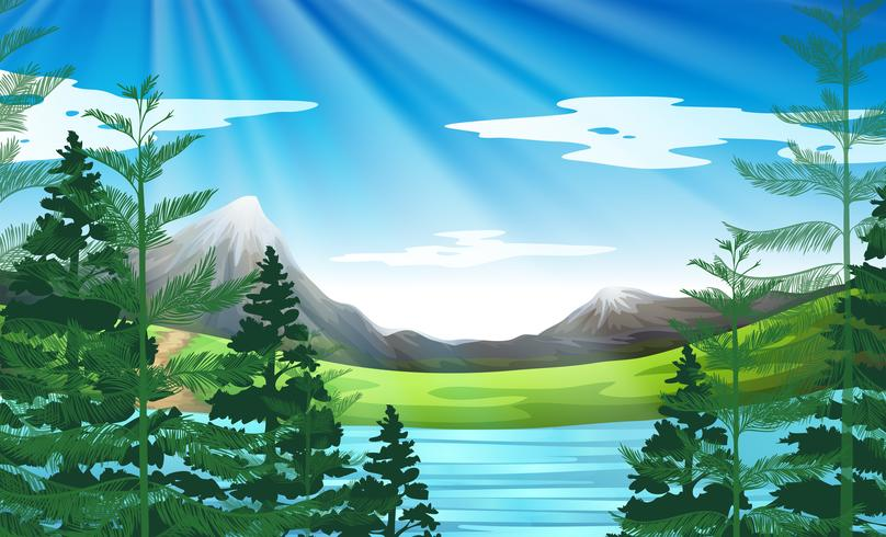 Background scene of lake and pine forest - Download Free Vector Art, Stock Graphics & Images