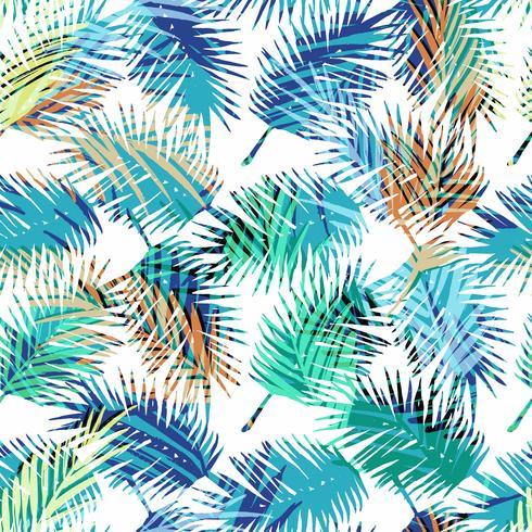 Naadloos exotisch patroon met tropische palmbladen. vector