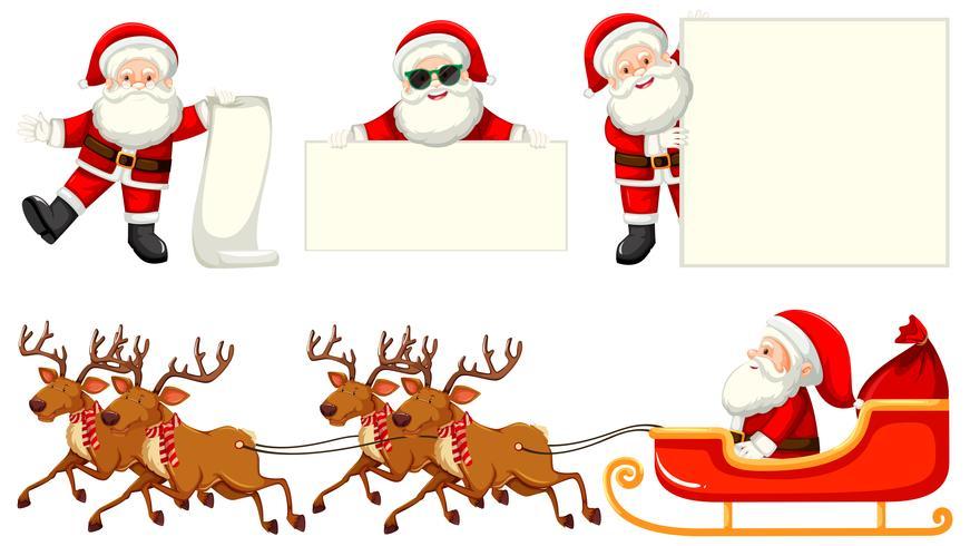 Set von Santas und Rentier