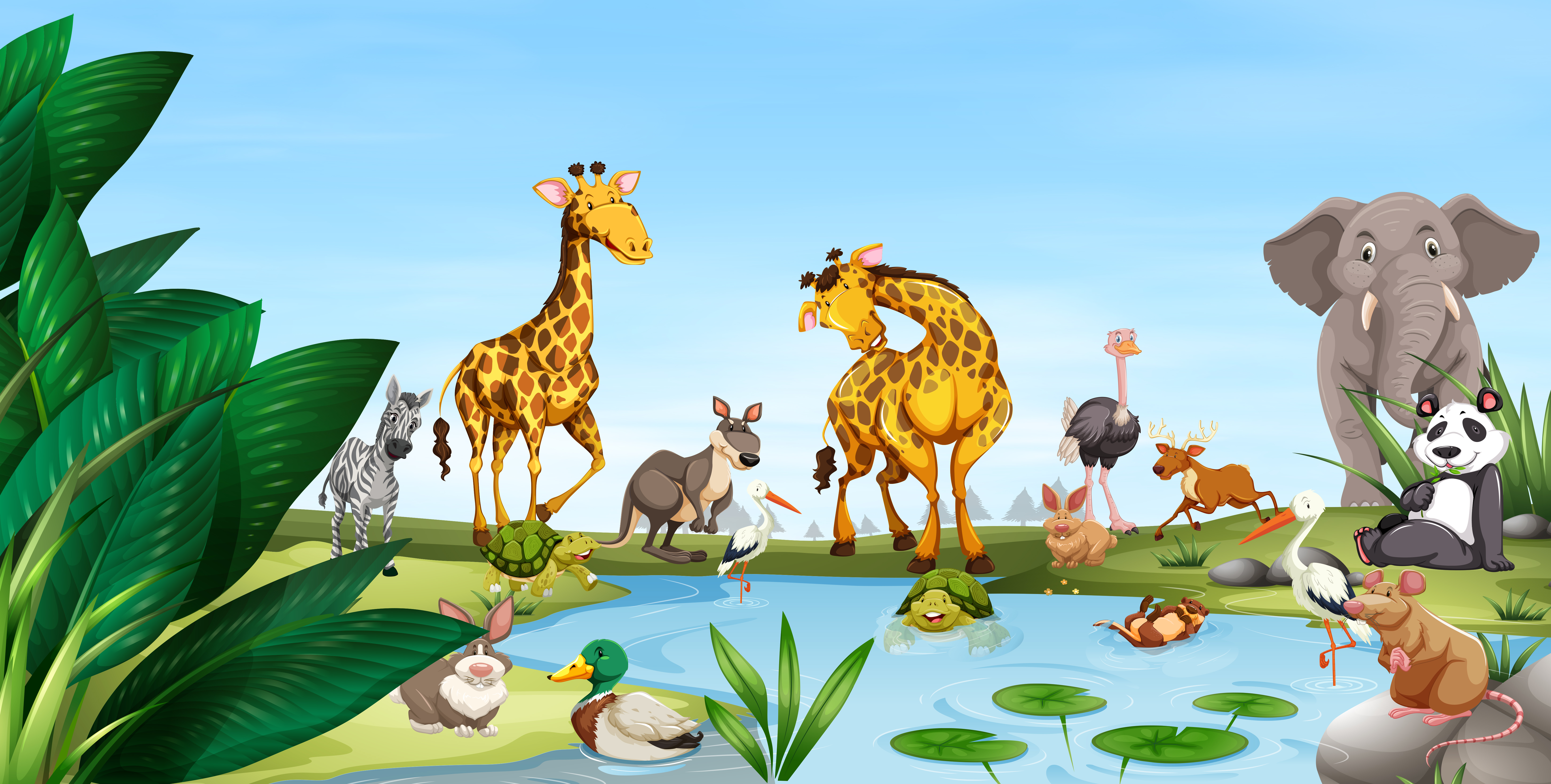 Wild animals by the pond - Download Free Vectors, Clipart ...