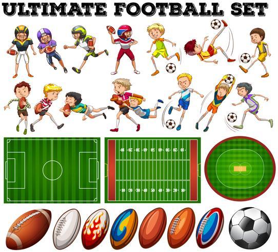 Tema del calcio con giocatori e palla vettore