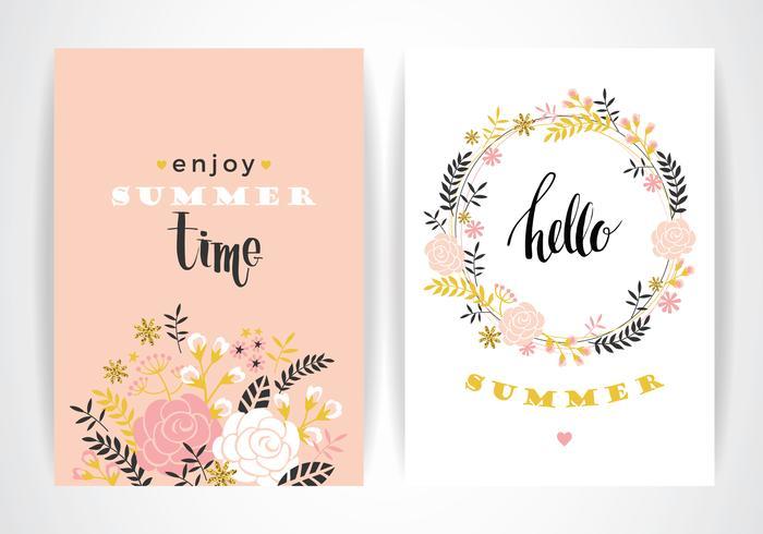 Plantilla de tarjeta floral de verano. Ilustración vectorial vector
