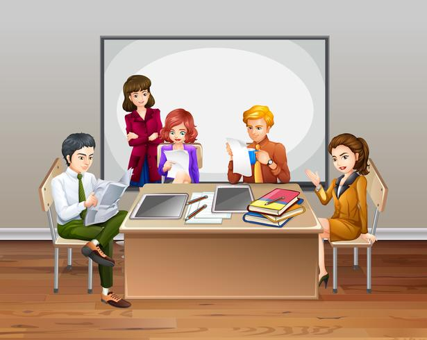 Kontorsarbetare möte i rummet