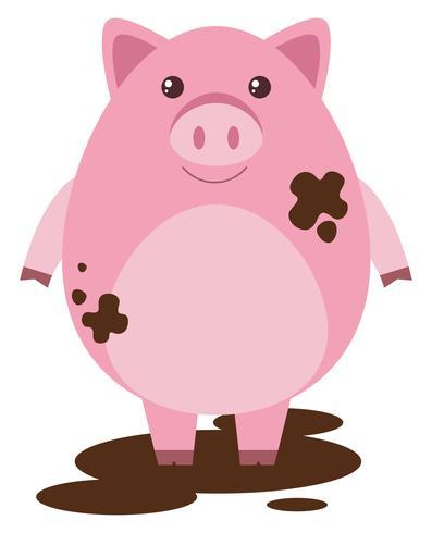 Rosa Schwein in schlammiger Pfütze
