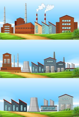 Tres escenas con fábricas en el campo.