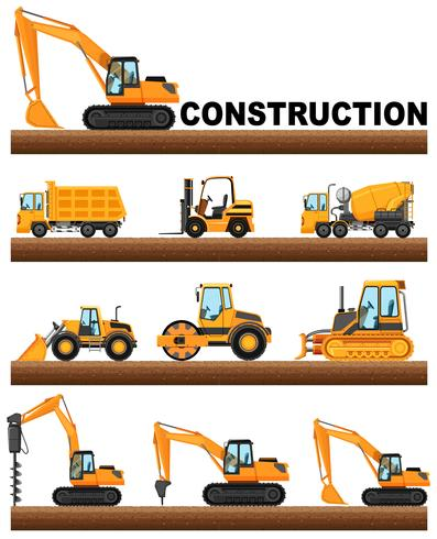 Diferentes tipos de camiones de construcción en el suelo.