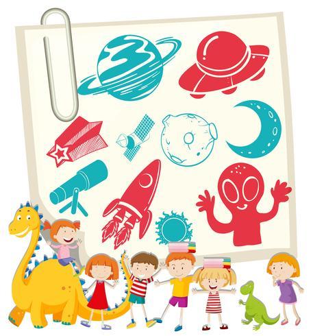 Niños y símbolo de la ciencia en notecard