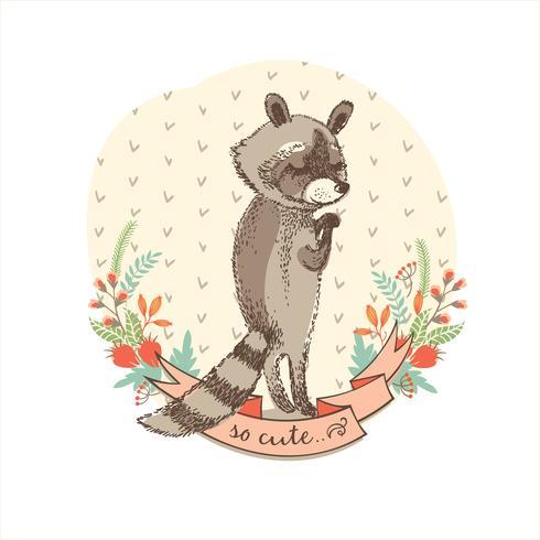 Illustration vectorielle de raton laveur mignon. vecteur