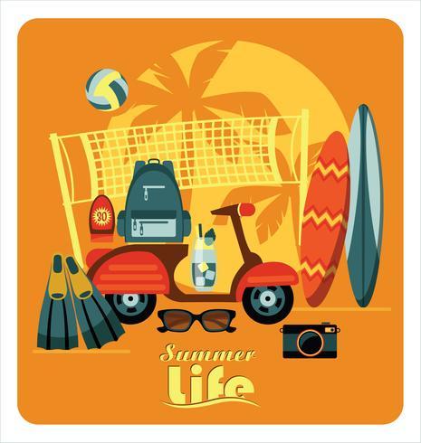 Vector piatta illustrazione di vacanze estive attive.