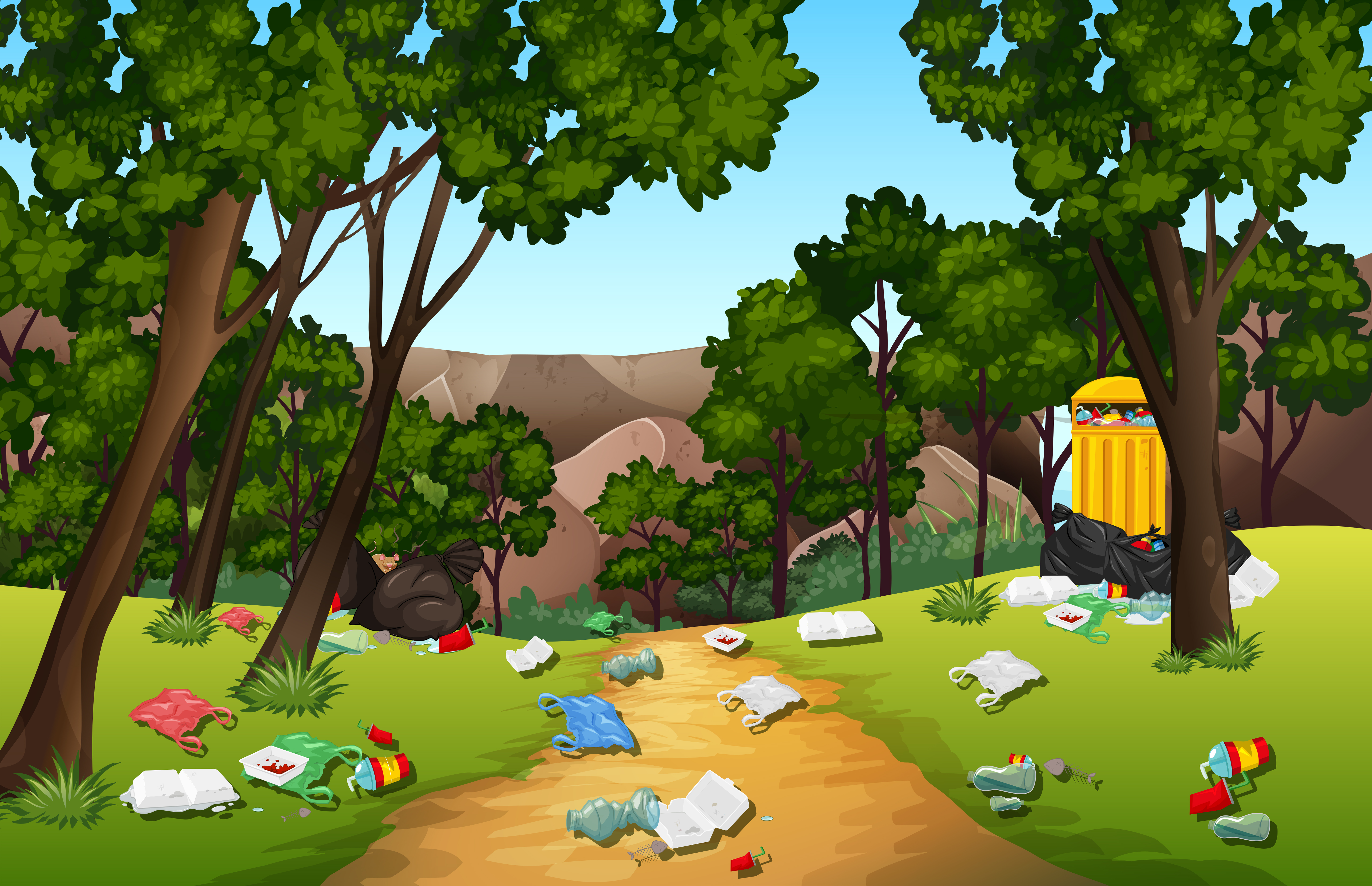 Litter in the nature park - Download Free Vectors, Clipart ...