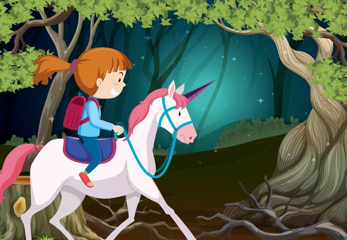 Una niña montando unicornio en la noche.