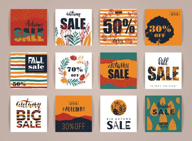 Set di carte di vendita autunno creativo artistico.