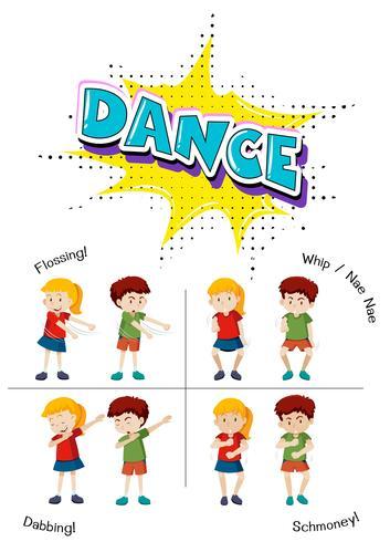 Eine Reihe von Teenager-Tanz