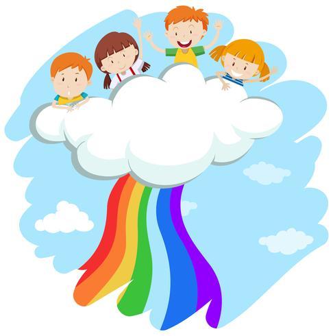 Barn och färgstark regnbåge