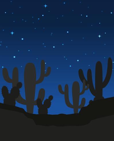 Scène avec cactus la nuit