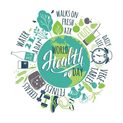 Concepto del día mundial de la salud. vector