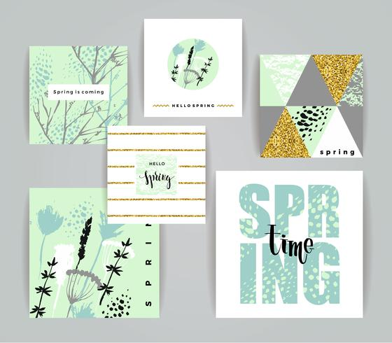 Set of artistic creative spring cards.  vector