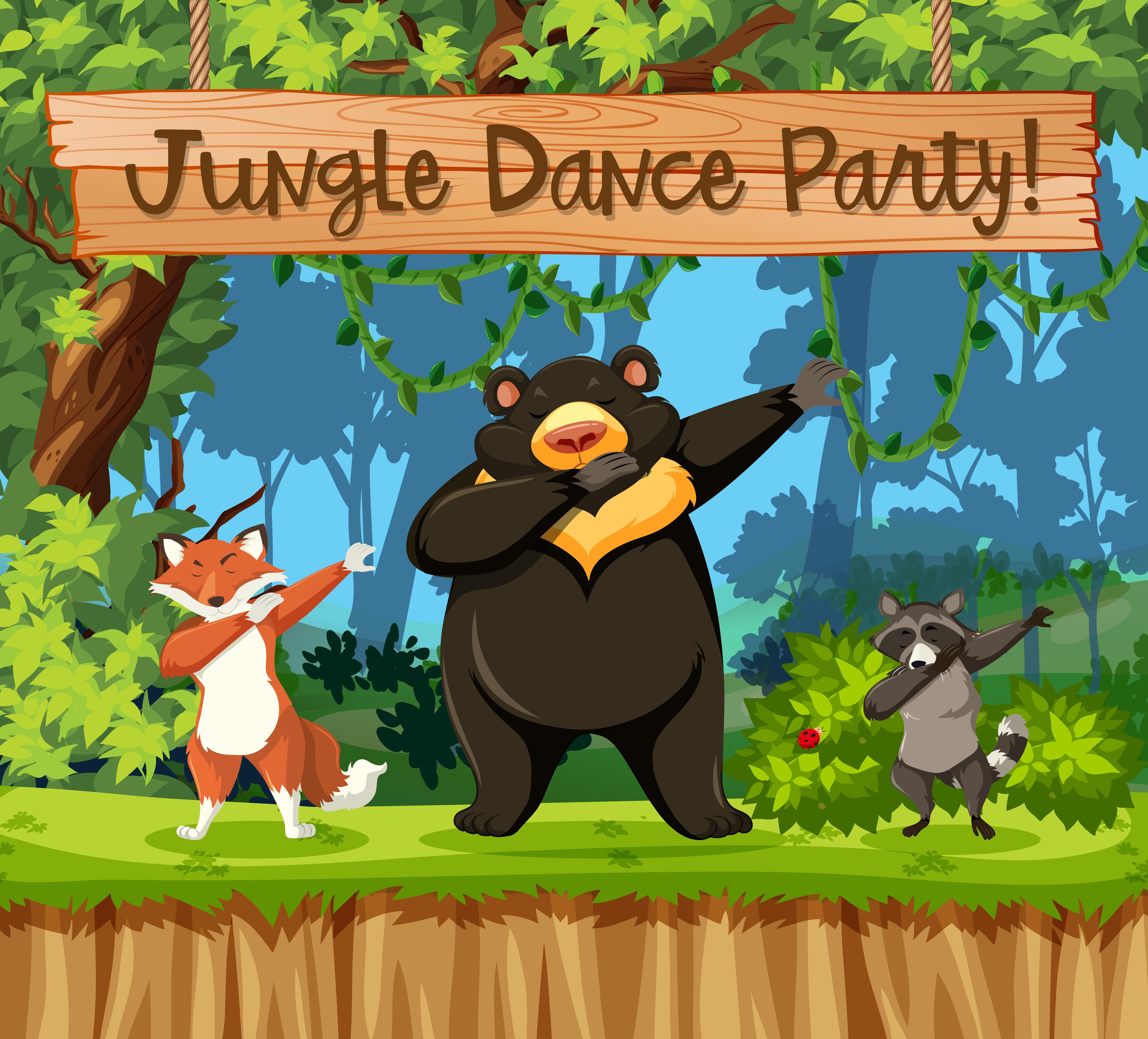 Jungle dance party animal scene - Download Free Vectors ...