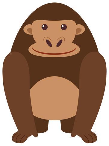 Gorila feliz sobre fondo blanco vector