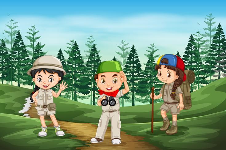 Esplora i bambini nella foresta vettore