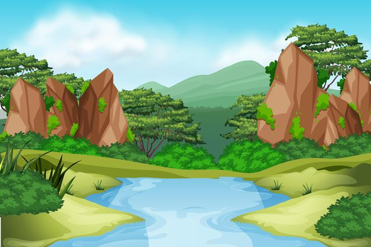 River enviroment landscape scene - Download Free Vector Art, Stock Graphics & Images