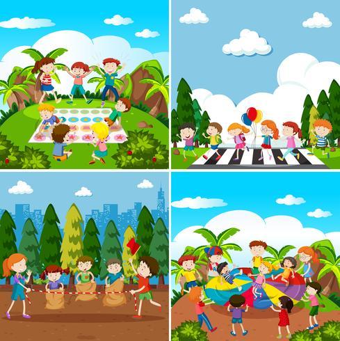 Set Di Bambini Che Giocano Scarica Gratis Arte Vettoriale