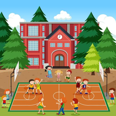 Niños jugando escena de baloncesto vector