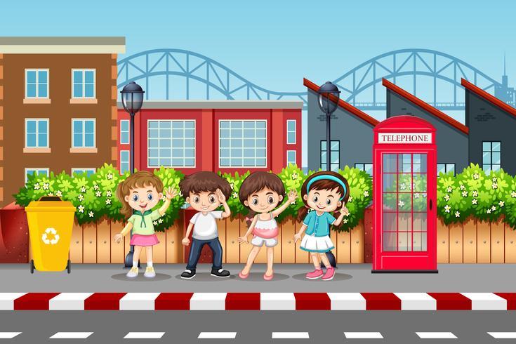 Set of children in urban street